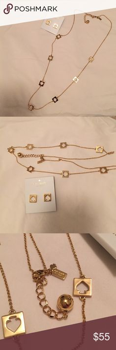 Kate Spade cut out spade necklace and earring set Earrings are NWT, never worn!!! Necklace is NWOT; tag was taken off to try on but ended up never wearing. Gorgeous gold set! Just have too much jewelry :) no traded or off site transactions please :) kate spade Jewelry