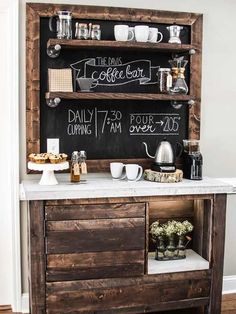 Here are 30 brilliant coffee station ideas for creating a little coffee corner that will help you decorate your home. See more ideas about Coffee corner kitchen, Home coffee bars and Kitchen bar decor, Rustic Coffee Bar. Kitchen Decor, Bar Furniture, Sweet Home, Decor, Bars For Home, Coffee Bars In Kitchen, Coffee Kitchen, Kitchen Design, Kitchen Remodel
