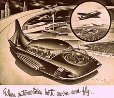 When automobiles both swim and fly...~ 1952 ad detail for National Oil Seals, illustrated by Arthur Radebaugh.