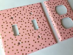 Gold Pink Polka Dots Double Light Switch Plate Cover Outlets / Gold Home Decor / Gold Pink Bedroom Decor / Gold Nursery Decor Metallic Gold by COUTURELIGHTPLATES on Etsy https://www.etsy.com/listing/227088827/gold-pink-polka-dots-double-light-switch