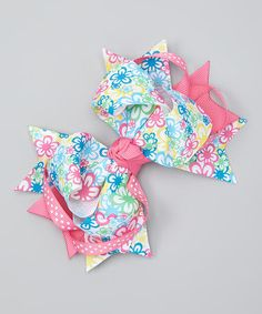 Bubbly Bows Pink & Blue Floral Sweetie Pie Bow