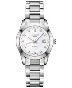 Longines Women's Swiss Automatic Conquest Classic Diamond Accent Stainless Steel Bracelet Watch 29mm L22854876 - Silver