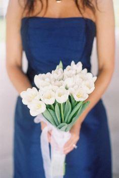 blue weddings.White tulip bridesmaid bouquet
