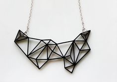 Geometric Necklace - Prism & Triangles Minimalist Necklace in Black. $26,99, via Etsy.