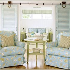 2008 | Scarborough, ME | Living Room | Designer: Tracey Rapisardi - LOVE those repurposed shutters! I can't wait to use my grandmothers plantation shutters -