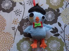 Felt Light Blue Beatnik Bird Ornament by Pepperland by Pepperland