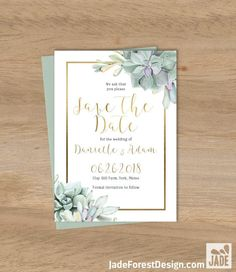 Succulent Save The Date / Greenery and Gold Geometric / Green Cactus and Gold Calligraphy ▷ Printable File {or} Printed & Shipped by JadeForestDesign on Etsy