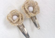 Crochet Tic Tac hairclip  beige and gold set of 2 by SilviStudio, $10.00