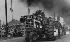 An International Harvester tractor plows up track direct as it tugs a load in the 1972 tractor pull.