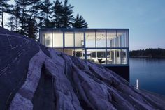 Glass box on the lake