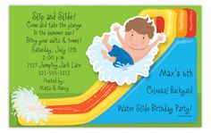 Waterslide Boy Wiggler Invitation
