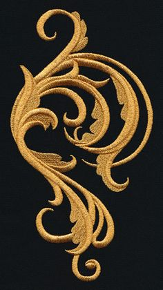 Embroider this swirling flourish design in rich golden thread (or any other color you like) to create fanciful garb, everyday fashions, and stunning decor! Gold Embroidery, Embroidery Files, Cross Stitch Embroidery, Machine Embroidery Designs, Embroidery Patterns, Crazy Quilting, Urban Threads, Gold Work, Embroidery Techniques