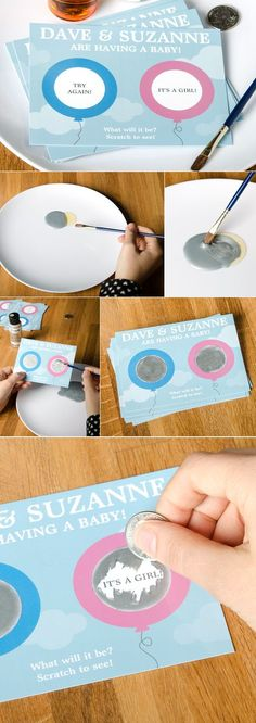Doing this for Baby DIY - baby reveal party postcard scratchers and other great gifts/ideas for personalized party favors and decorations. Deco Baby Shower, Shower Bebe, Baby Shower Crafts, Baby Crafts, Baby Shower Gender Reveal, Baby Gender, Gender Reveal Gifts, Baby Party, Baby Shower Parties
