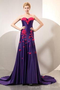 94fbaa06400 Attractive Sweetheart A-line Floor Length Purple Celebrity Dresses With  Fuchsia Flowers