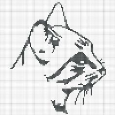 grilles point de croix: grille gratuite tête de chat