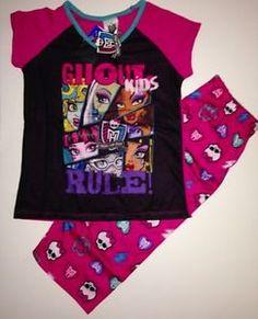Monster High Girls Pajamas Set New Capri Style with Tags Size 10 12 Sleepwear | eBay