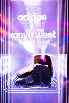 Adidas Kanye West Show Display done with multiple layers of etched acrylic. Pop Design, Stand Design, Display Design, Studio Design, Graphic Design, Mirror Inspiration, Flora Design, Shoe Display, Acrylic Display