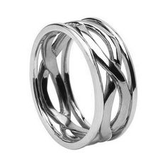Mens 14K White Gold Celtic Infinity Knot Wedding Band
