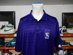 Rare Adidas Northwestern Wildcats Walk Player Issue Polo Shirt XL Purple #53 EUC #adidas #NorthwesternWildcats