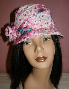 VINTAGE HAT MILLINERY PINK FLOWER LOVELY STYLED DRAPES #TopHat 32$