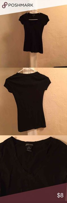 Black V Neck Shirt Wet Seal Black V Neck in great condition no fading nor flaws size xs Wet Seal Tops Tees - Short Sleeve