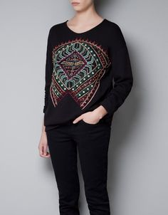 EMBROIDERED SWEATER WITH BEADS