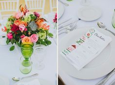 Colorful floral centerpiece and a close-up to a menu in a vintage wedding. Photos: Pedro Bellido #vintageWedding #centerpieces #menuDesign