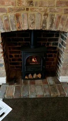 New Photographs Brick Fireplace log burner Popular stockton 5 midline in exposed brick restored archway Brick Fireplace Log Burner, Exposed Brick Fireplaces, Stone Fireplace Decor, Brick Hearth, Brick Steps, Cottage Fireplace, Inglenook Fireplace, Fireplace Garden, Fireplace Mantel
