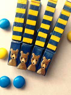 CAL BEAR CLOTHESPINS blue and gold hand painted magnets Cal Berkeley by SugarAndPaint on Etsy