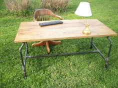 Industrial Steel Pipe Desk