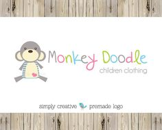 Premade Logo  Custom Premade Logo  by Simply Creative Shop - Cute Monkey Logo