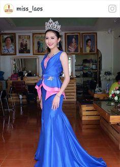 Miss Laos 2016. Live her silk dress. Custom made from Lao silk.