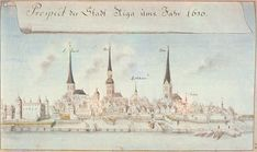 Drawing of Riga, Lativia in 1650 by Johann Christoph Brotze. In 1710 Russia under Tsar Peter I the Great Alexeyevich Romonov (1672-1725 age 52) captured Lativa & made Riga the Capital. After a 1741 coup by Tsaritsa Elizabeth Petrovna Romanova (1709-1762 age 52) Russia, Tsar Ivan VI Antonovich Romanov (1740-1764 age 23) Russia & his family were sent to Riga briefly, where she had intended to send them home to Brunswick, but instead imprisoned them in The Fortress of Dünamünde, Latvia.