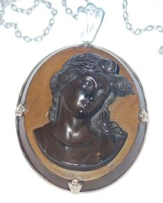 Large Victorian Silver Mounted High Relief Carved Lava Cameo Pendant Chain | eBay <3<3
