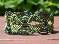 Green Beaded Micro Macrame Bracelet Made by a friend of mine $2 on Etsy