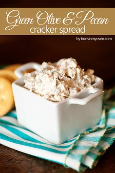 My Granny Branch used to make this for parties and I LOVE it!   Green Olive & Pecan Spread #recipe by bunsinmyoven.com