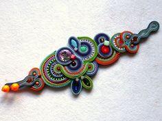 Soutache Bracelet Multicolor Swarovski élégant Ethno par KCSoutache