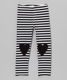 Take a look at this Black Stripe Lovely Heart Leggings - Toddler & Girls on zulily today!