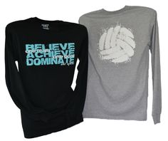 BELIEVE ACHIEVE DOMINATE - One Team One Goal with large volleyball print on back. Currently pictured is long sleeve but this same design is on a crew neck sweatshirt. Volleyball Team Shirts, Volleyball Shirt Designs, Volleyball Memes, Basketball Memes, Volleyball Outfits, Coaching Volleyball, Volleyball Ideas, Softball, Soccer Quotes