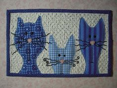 kitty cat quilted mug rug by lekaquilt