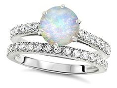 Star K Round 7mm Simulated Opal Wedding Ring Sterling Sil...