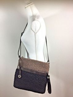 Details about Brighton Cody Woven Straw Black Leather Trim Handbag Shoulder  Bag Tote Purse 5308c26ad53b2