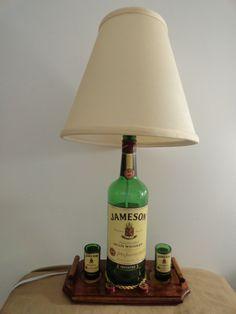 bottle lamp | ... Jameson Whiskey Liquor Bottle Desk Lamp w/ Magnetic Shot Glasses