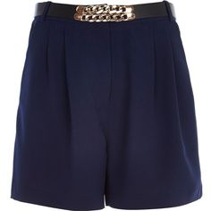 River Island Blue long smart high waisted shorts (25 CAD) ❤ liked on Polyvore featuring shorts, sale, zipper shorts, river island shorts, long shorts, blue high waisted shorts and blue shorts
