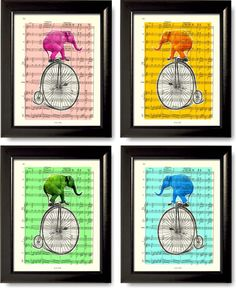 Hey, I found this really awesome Etsy listing at https://www.etsy.com/listing/166921146/set-of-4-elephant-prints-on-music-sheet
