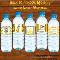 Back to School Monkey – WATER BOTTLE WRAPPERS ------------------------------------------------------ WHAT'S INCLUDED WITH PURCHASE ------------------------------------------------------ PDF file with  - 5 printable water bottle wrappers that can be printed as many times as you want. Just pr...