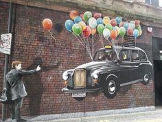 Street Art, graffiti, graphiti, car, ballons, balloner, flying, city wall, fantasy, imagination, male, bricks