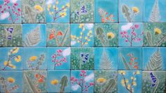 Botanical ceramic tile Spring flowers hand cut tile