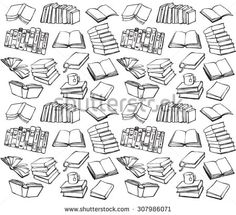 Book collection seamless vector pattern  - stock vector