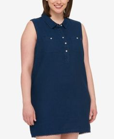 Tommy Hilfiger Plus Size Denim Shirtdress, Created for Macy's - Blue 22W